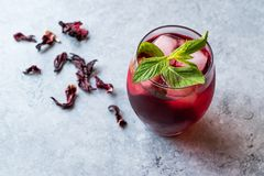 Cold Brew Hibiscus Tea With Ice And Mint Leaves. Royalty Free Stock Photography