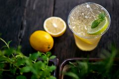 Cold brew iced tea with lemon and peppermint, summer refreshing Royalty Free Stock Image