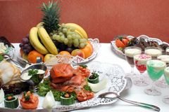 Cold buffet. With fish platter, dessert and fruits Stock Images