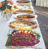 Cold buffet. Carpaccio, pies, terrines Royalty Free Stock Photos