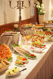 Cold buffet display. With an assortment of salads, vegetables, meat and dessert at a catered event such as a wedding Stock Image