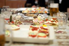 Cold Buffet On Party Table - Selection of Sandwiches Royalty Free Stock Image