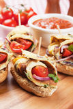 Cold buffet sandwich with omelete and cherry tomato. Canape sandwich with omelete and cherry tomato royalty free stock photography