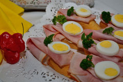 Cold buffet. Sandwiches with ham and egg cold buffet Royalty Free Stock Image