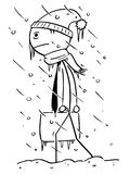 Cold Businessman Walking to Office during Winter Storm. Cartoon stick man drawing illustration of cold chilled businessman walking to office during winter storm Stock Photo