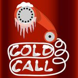 Cold call for lead generation. Handset phone is in ice and snow. Red and white art placard. Cold call marketing strategy for lead generation business. Red Royalty Free Stock Photos