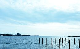 Harbor View on a Winter Day stock photography
