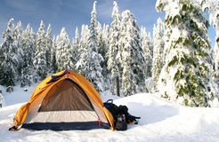 Cold Camping. A tent set up on a ski trip in BC's coast mountains Stock Photos