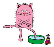 Cold cat. Illustration of a cat about to take a bath and feeling very cold after dipping his paw into the water royalty free illustration