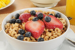 Cold cereal with strawberries and blueberries Stock Photos
