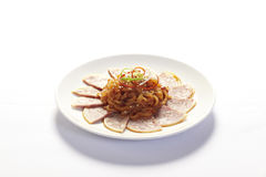 Cold Chinese style starter dish in white plate Stock Photo