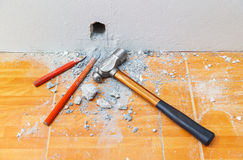 Cold chisels and hammer Royalty Free Stock Photography