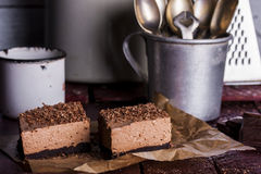 Cold chocolate cheesecake royalty free stock photos