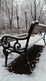 Cold christmas december snow tree frost winter nature white bench. Bench cold christmas december snow tree frost Stock Photo