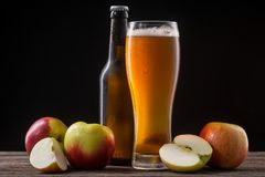 Cold cider and apples stock photos