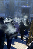 Cold. City. People. Stock Image