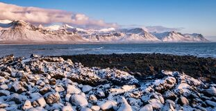 Free Cold Clear Winter Morning Panoramic View Of Beach In Atlantic Ocean In Iceland Stock Images - 175673354