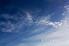 Cold cloudy day. Spectacular clouds in cold clear autumn day Royalty Free Stock Photo
