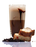 Cold coffee and cake. Closeup shot of cold coffee drink with cake slices isolated on white background royalty free stock images