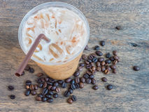 Cold coffee and coffee bean Royalty Free Stock Image