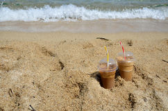 Cold coffee frappesand  a wave Royalty Free Stock Image
