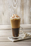 Cold coffee with ice cream and caramel Royalty Free Stock Photo