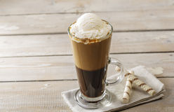 Cold coffee with ice cream. In a glass Royalty Free Stock Photo