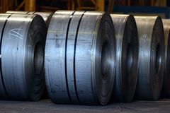Cold coil. This steel coils are ready to be sold, they weight almost 12 tons Stock Photography