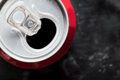 Cold cola can top close up with water drops Stock Photography