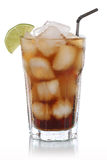 Cold cola in glass isolated Royalty Free Stock Photos