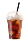 Cold cola with ice in takeaway cup on white background Royalty Free Stock Photo