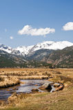 Cold Colorado mountain stream. A view of a cold mountain stream winding its way through a Colorado valley in early spring Royalty Free Stock Images