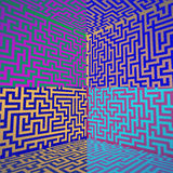 Cold colored shaded three dimensional maze box Royalty Free Stock Photos