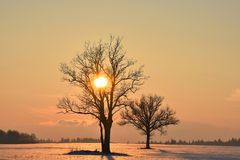 Cold ,but colorful February evening in Lithuania Stock Images