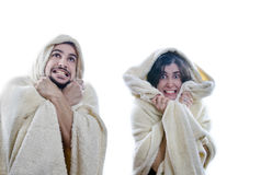 Cold Couple. A couple on white, cold concept image. Isolated, easy cut Royalty Free Stock Photography
