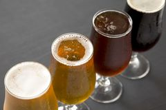 Cold craft beer assortment on a black background, low angle view. Close-up.  royalty free stock photo