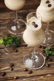 Cold cream with coffe and mint on the wooden table Royalty Free Stock Photo