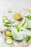 Cold cucumber and avocado soup Royalty Free Stock Photos