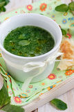 Cold cucumber soup. Mint and cucumber cold soup royalty free stock image