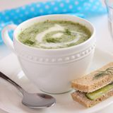 Cold cucumber soup with dill, yogurt  and cucumber sandwich Royalty Free Stock Photo