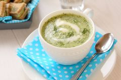 Cold cucumber soup with dill, yogurt and sandwiches Stock Photo