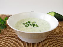 Cold cucumber soup Stock Photography