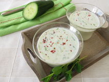 Cold cucumber soup Royalty Free Stock Image