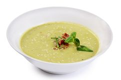 Cold cucumber soup with sesame seeds Royalty Free Stock Photos