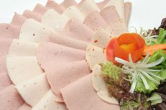 Cold cut meat. Cold cuts meat on the tray Royalty Free Stock Photography