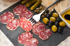 Cold cut platter with pita bread and pickles Stock Images