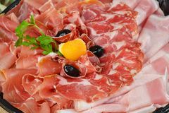 Cold cut/ Prosciutto and ham Royalty Free Stock Images