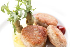 Cold cutlets with garnish Royalty Free Stock Photo