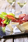 Cold cuts. Tray of assorted cold cuts - detail royalty free stock images