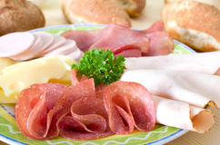 Cold Cuts. With salami, roast, ham, sausage and cheese stock image